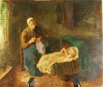 """19th CENTURY DUTCH """"MOTHER & CHILD"""" OIL ON BOARD"""