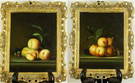 "PAIR OF ""STILL LIFE WITH FRUIT"" OIL ON PANEL"
