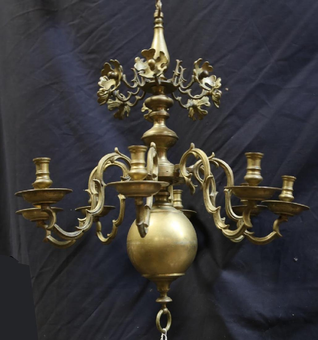 19th CENTURY DUTCH BALL BRASS CHANDELIER