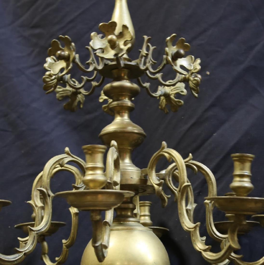19th CENTURY DUTCH BALL BRASS CHANDELIER - 2