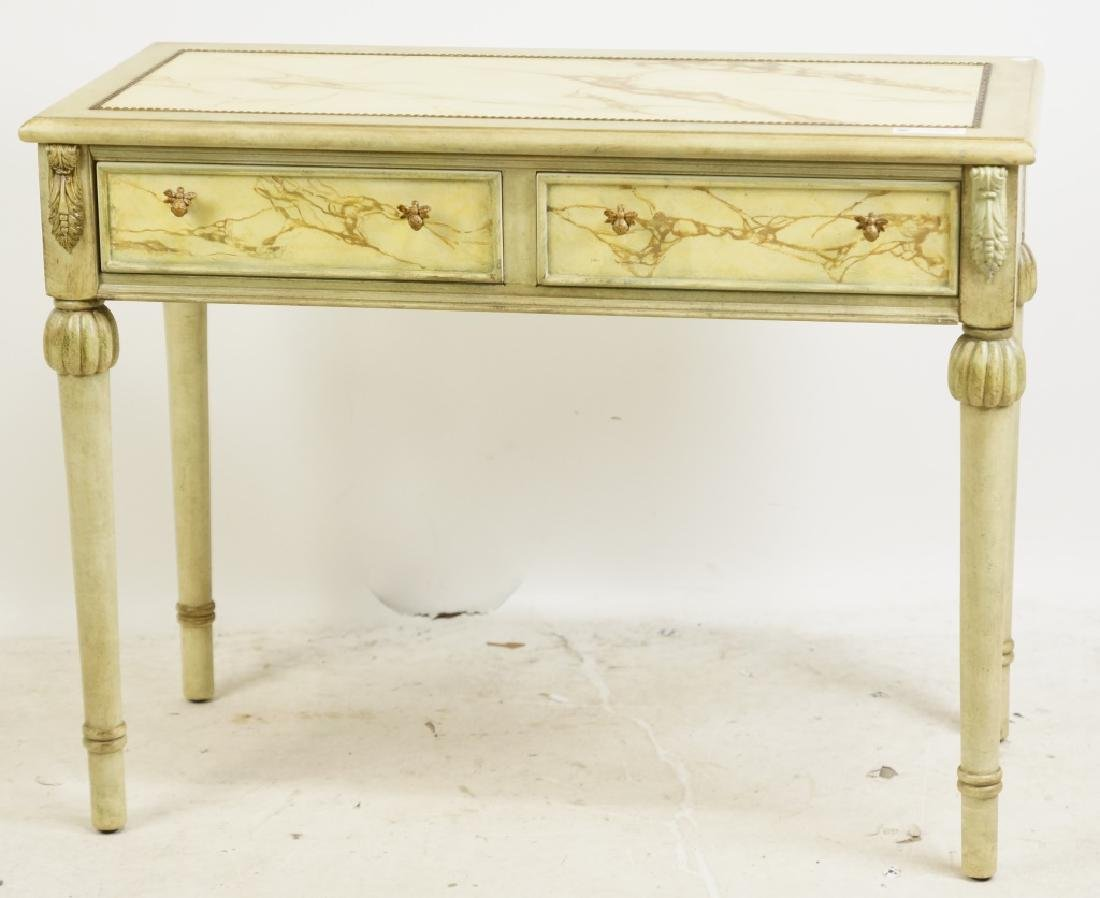 TWO DRAWER FAUX MARBLE TOP CONSOLE TABLE