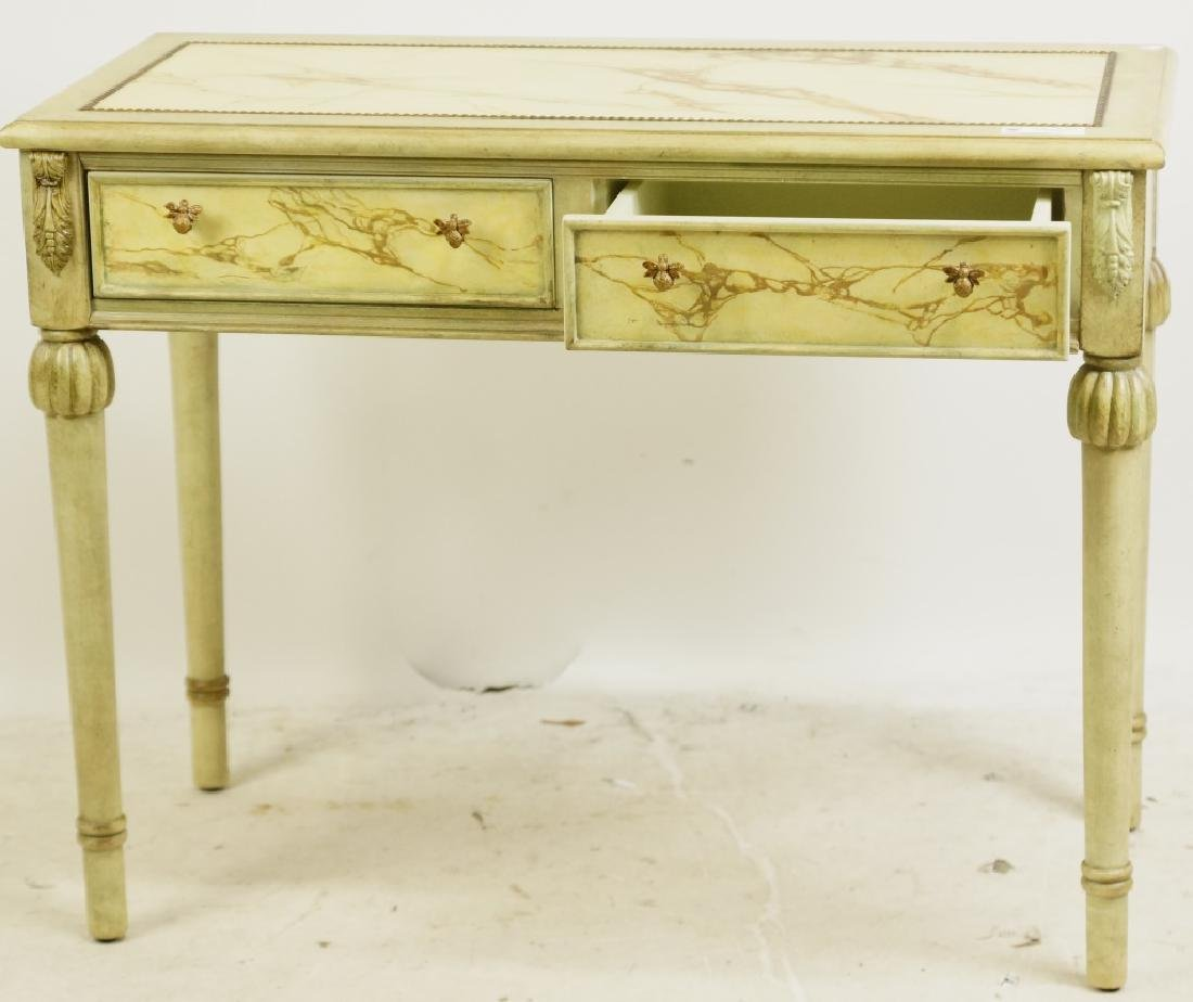 TWO DRAWER FAUX MARBLE TOP CONSOLE TABLE - 2