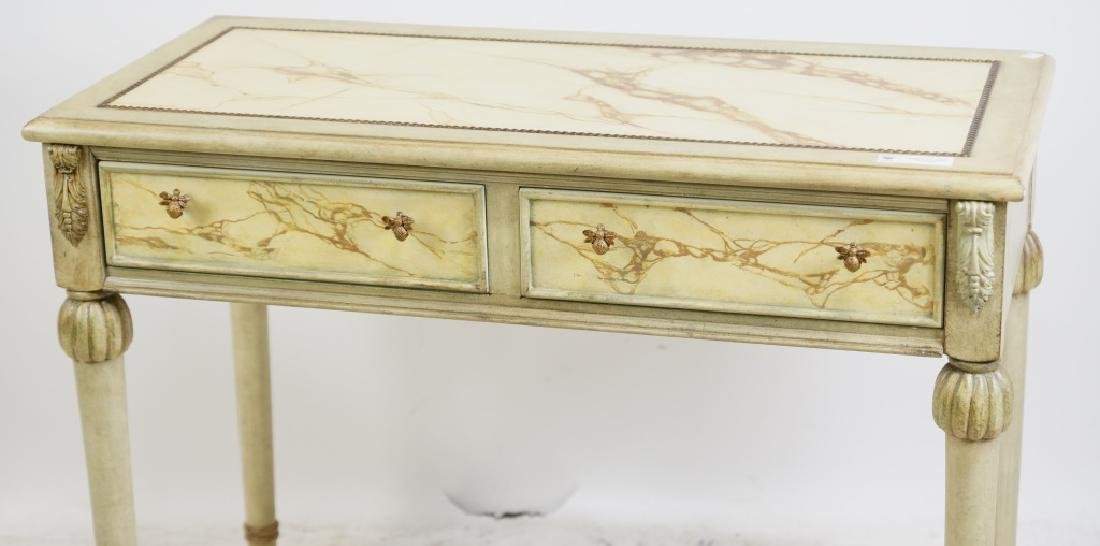 TWO DRAWER FAUX MARBLE TOP CONSOLE TABLE - 3