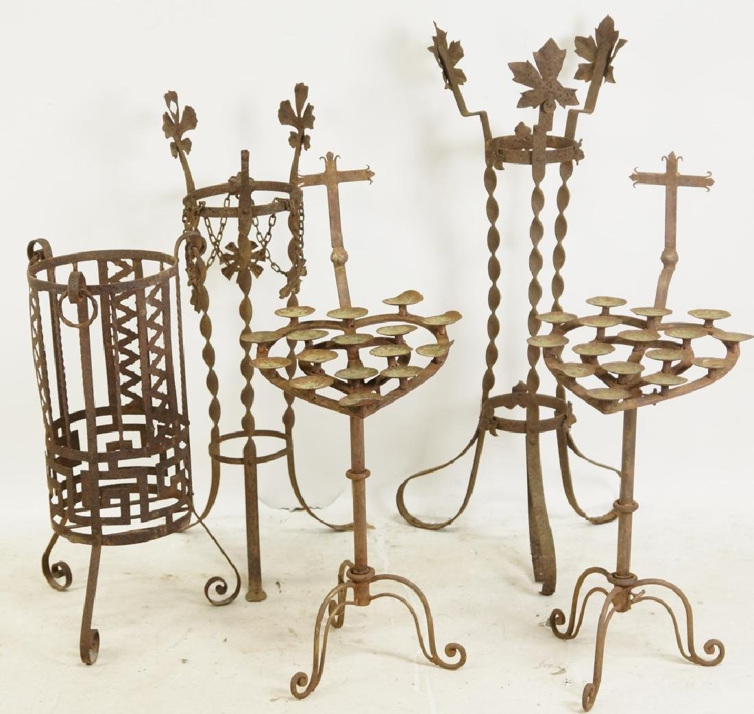 MIXED LOT OF FIVE WROUGHT IRON GARDEN PIECES