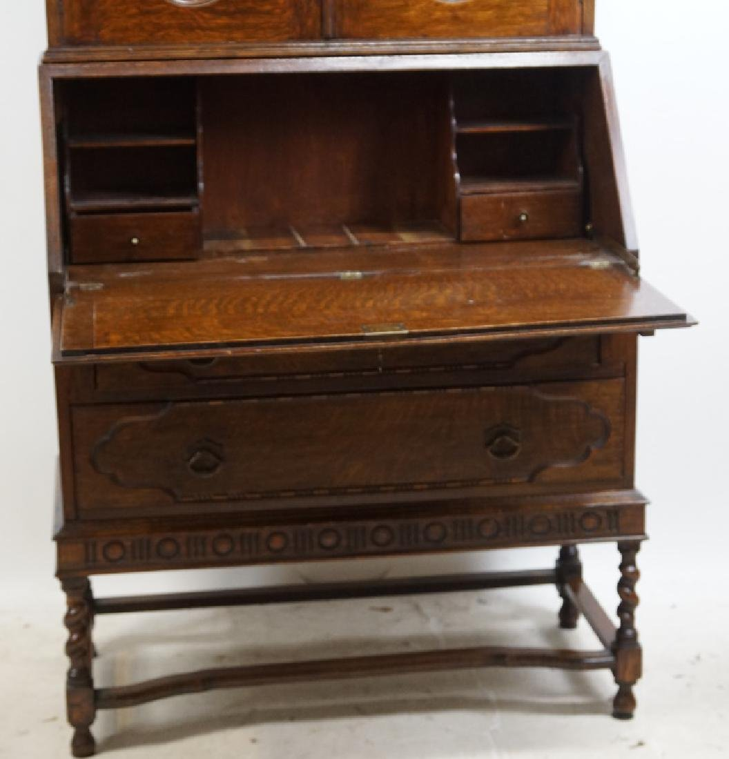 1920's ENGLISH OAK FALL FRONT WRITING CABINET - 3