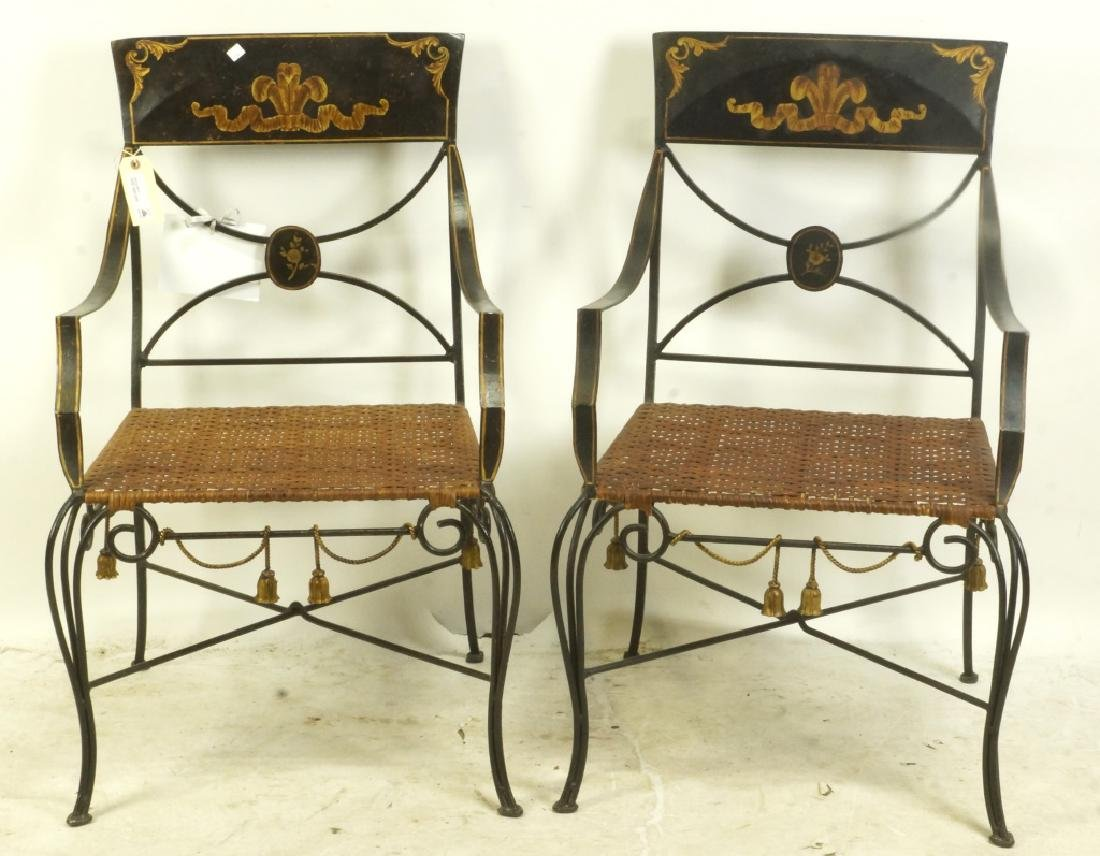 PAIR OF NEOCLASSICAL IRON ARMCHAIRS