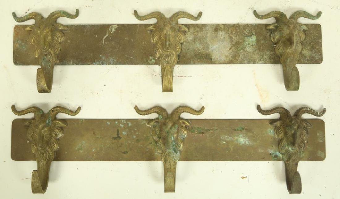 PAIR OF VINTAGE BRASS WALL HOOKS