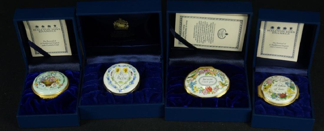 SET OF FOUR HALCYON DAYS ENAMELS SNUFF BOXES