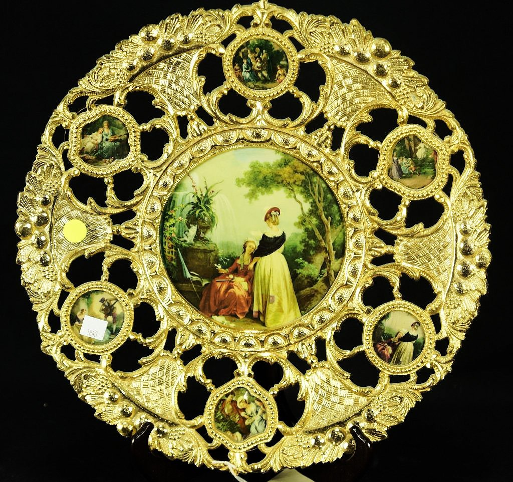 DECORATIVE CHARGER WITH SEVEN MEDALLIONS