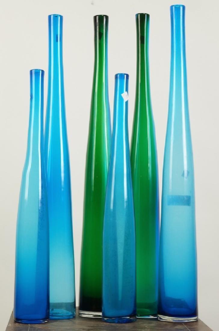 SET OF SIX ART GLASS BOTTLE VASES