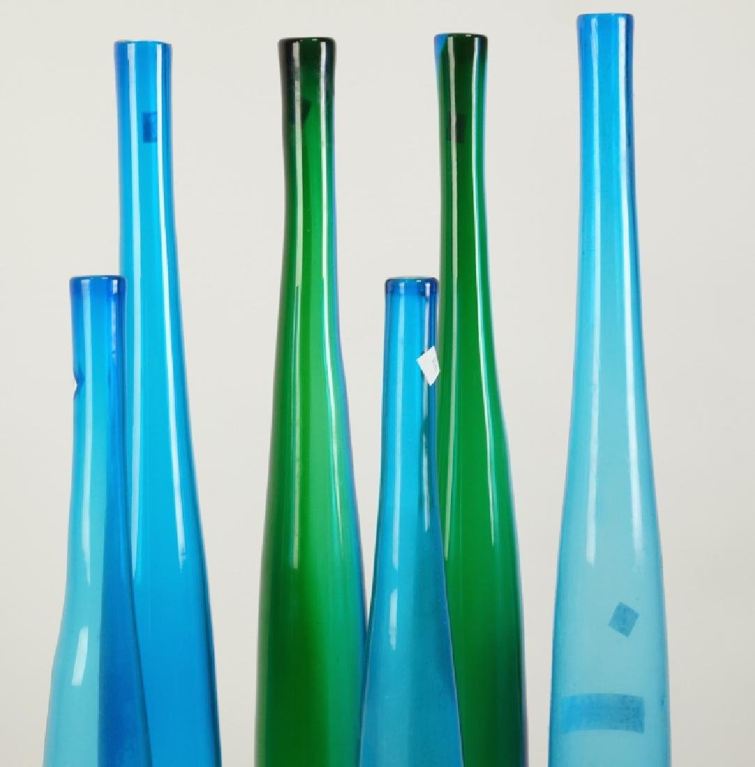 SET OF SIX ART GLASS BOTTLE VASES - 2