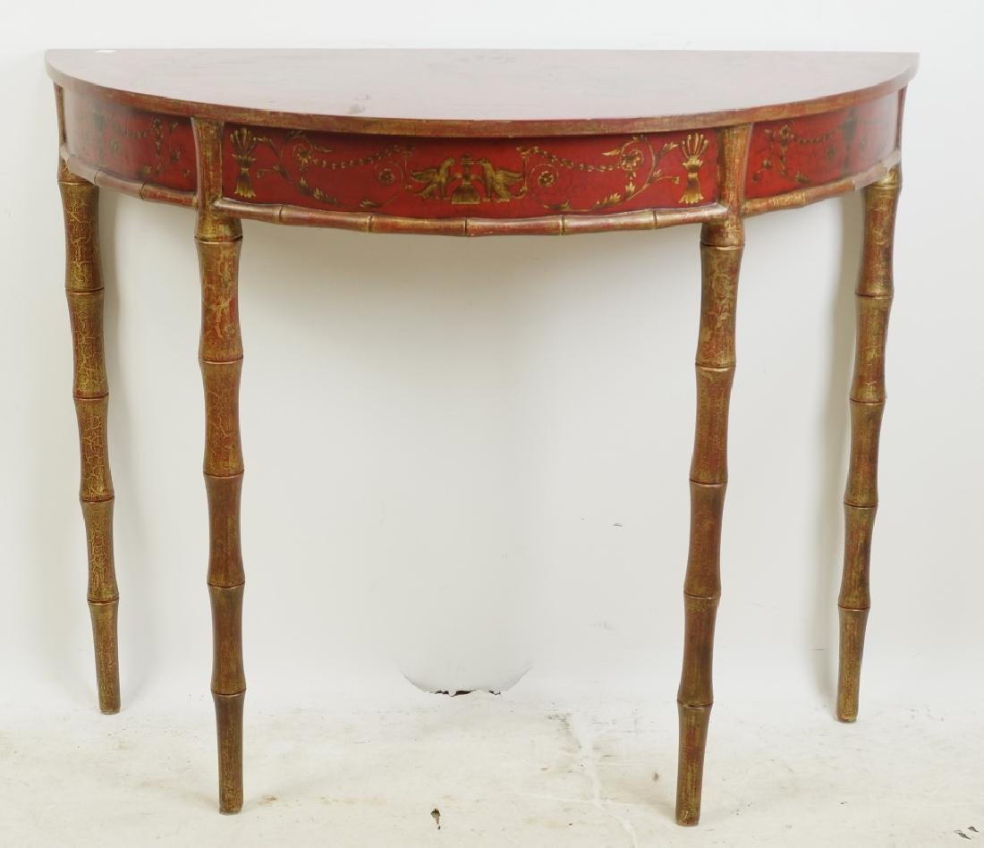 CHINESE STYLE RED LACQUERED DEMILUNE CONSOLE TABLE