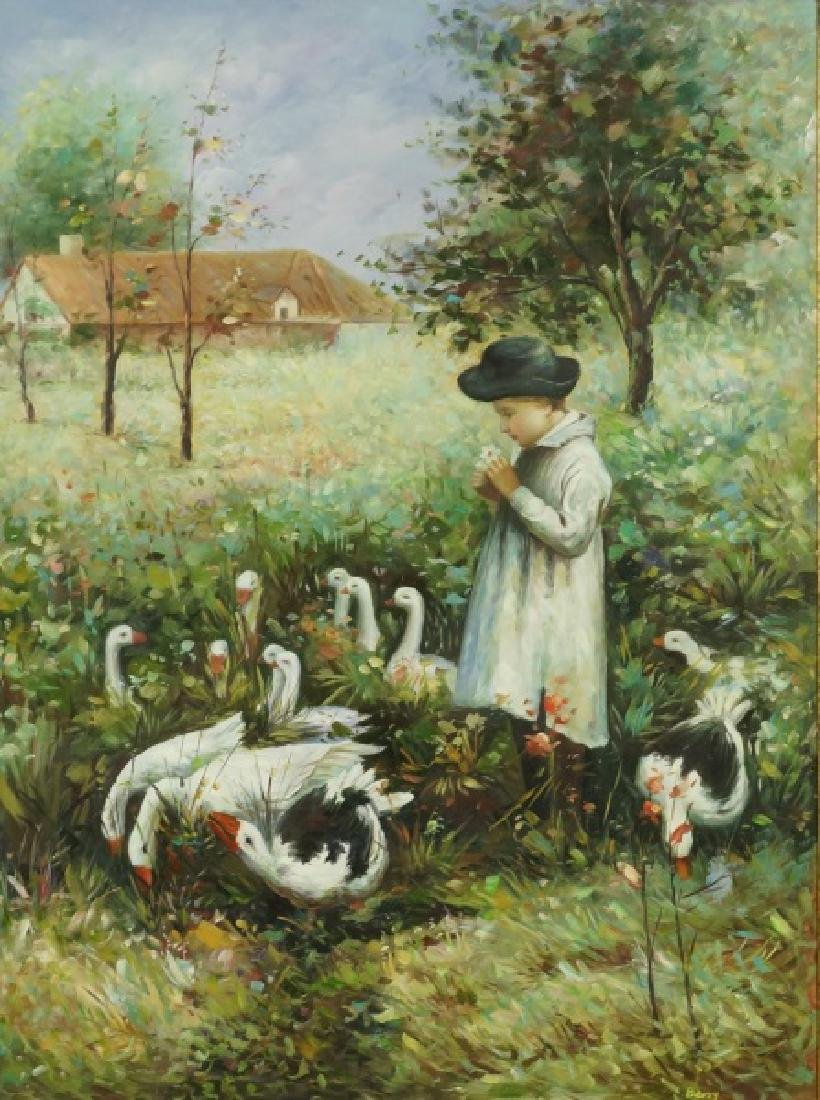 """BERRY """"CHILD IN A FIELD"""" OIL ON CANVAS"""