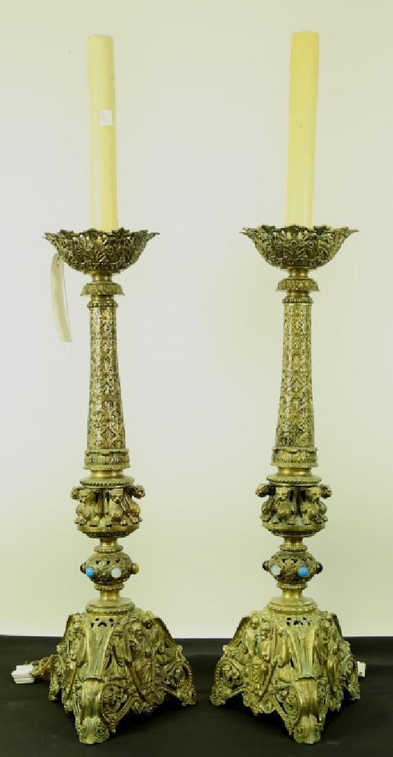 PAIR OF ANTIQUE BRASS CANDLESTICK CHURCH LAMPS
