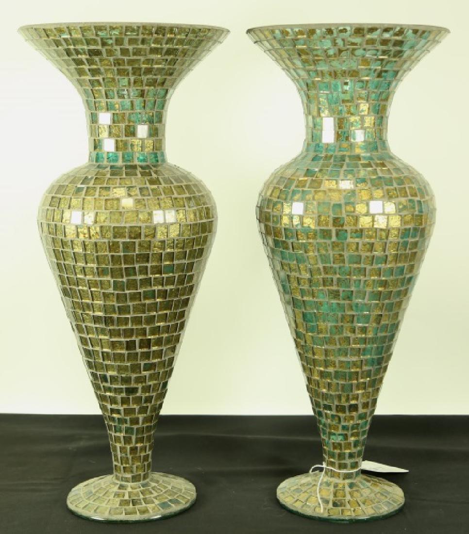PAIR OF TILED GLASS VASES