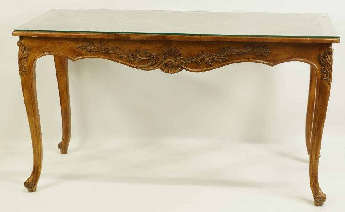COUNTRY FRENCH STYLE GLASS TOP CONSOLE TABLE