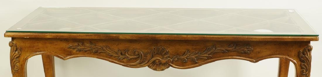 COUNTRY FRENCH STYLE GLASS TOP CONSOLE TABLE - 2