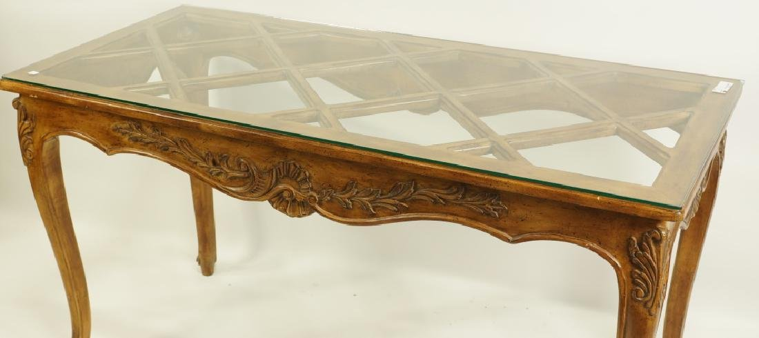 COUNTRY FRENCH STYLE GLASS TOP CONSOLE TABLE - 3