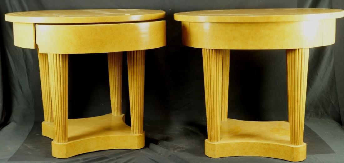 PAIR OF ART DECO STYLE BIRDSEYE MAPLE TABLES