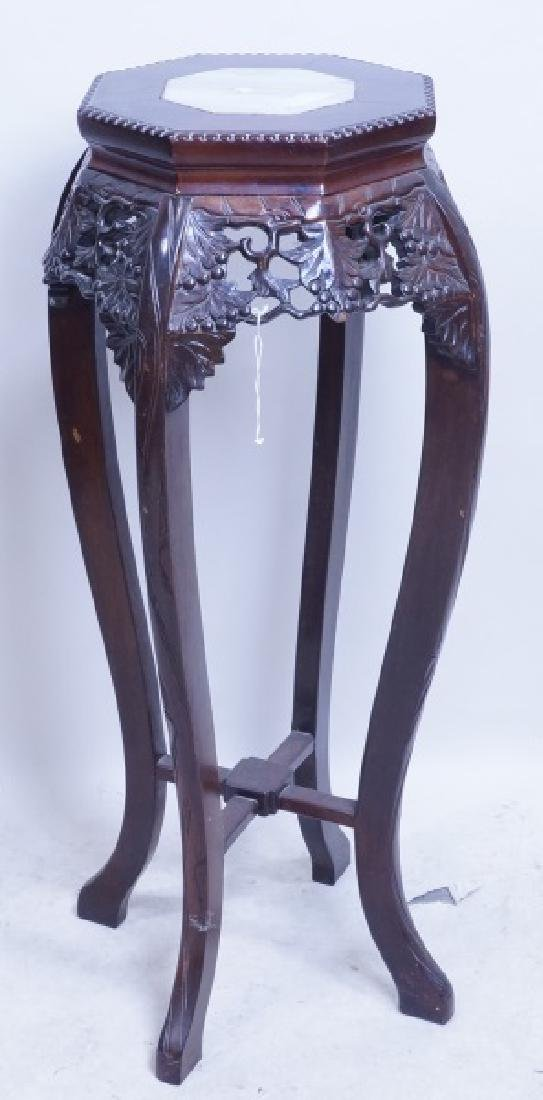 ANTIQUE CHINESE CARVED MARBLE TOP STAND