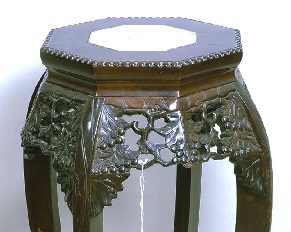 ANTIQUE CHINESE CARVED MARBLE TOP STAND - 2