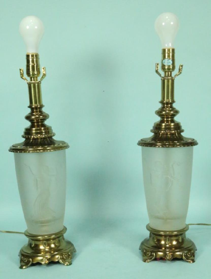PAIR OF LALIQUE STYLE FROSTED GLASS LAMPS