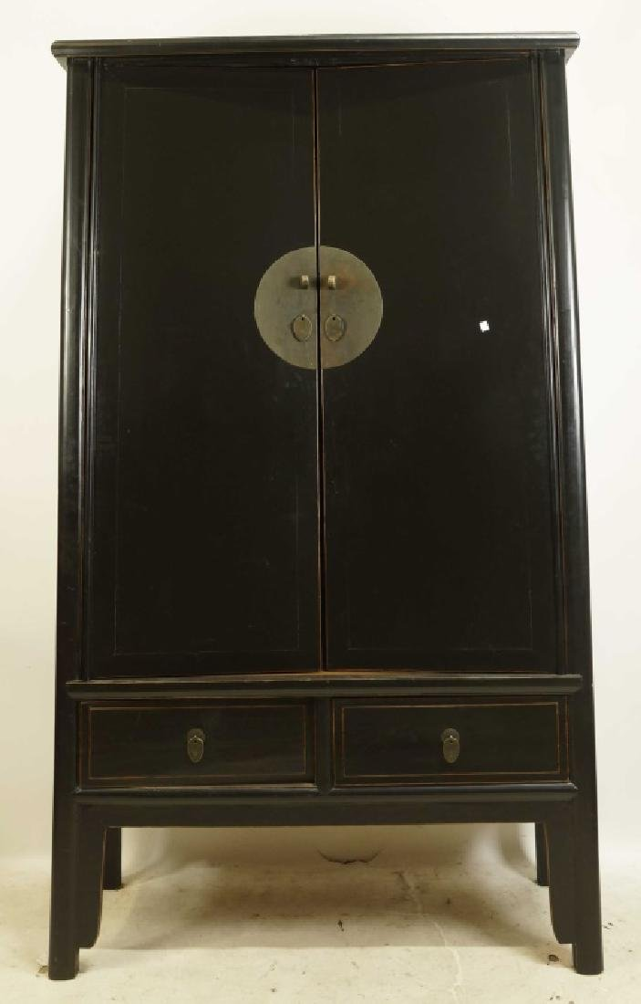 CHINESE BLACK LACQUERED TWO DOOR CABINET