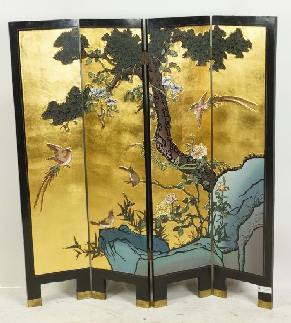 CHINESE BLACK LACQUER FOUR-PANEL SCREEN
