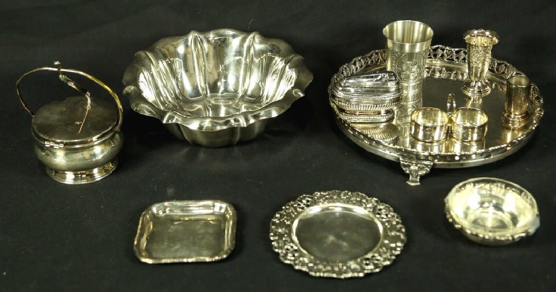 MIXED LOT OF 11 SILVER PLATED SERVING PIECES
