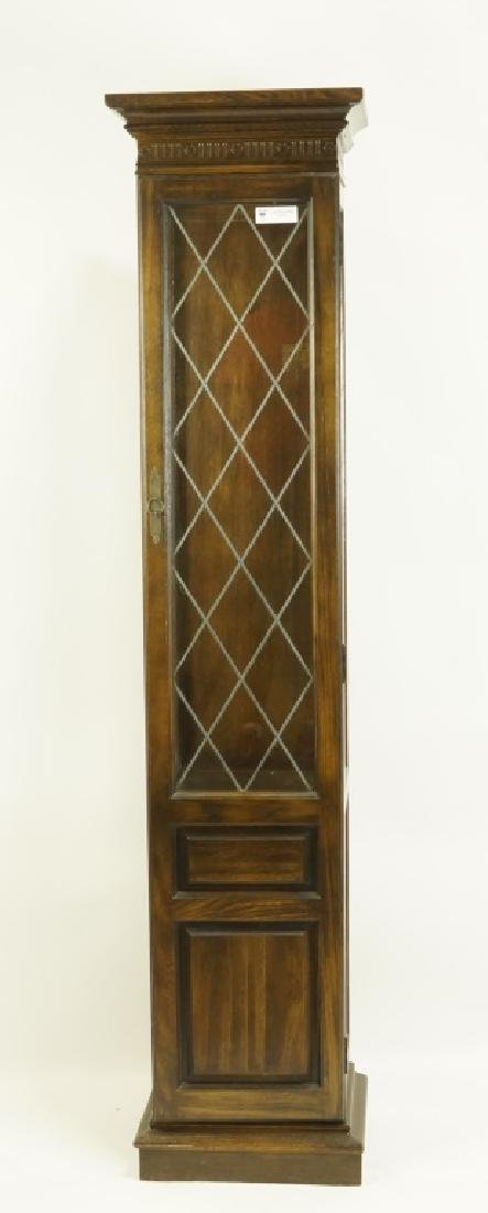 TALL DISPLAY CABINET WITH LEADED GLASS DOOR
