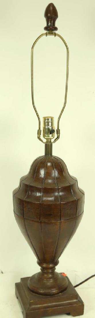 TOOLED LEATHER COVERED URN SHAPED LAMP