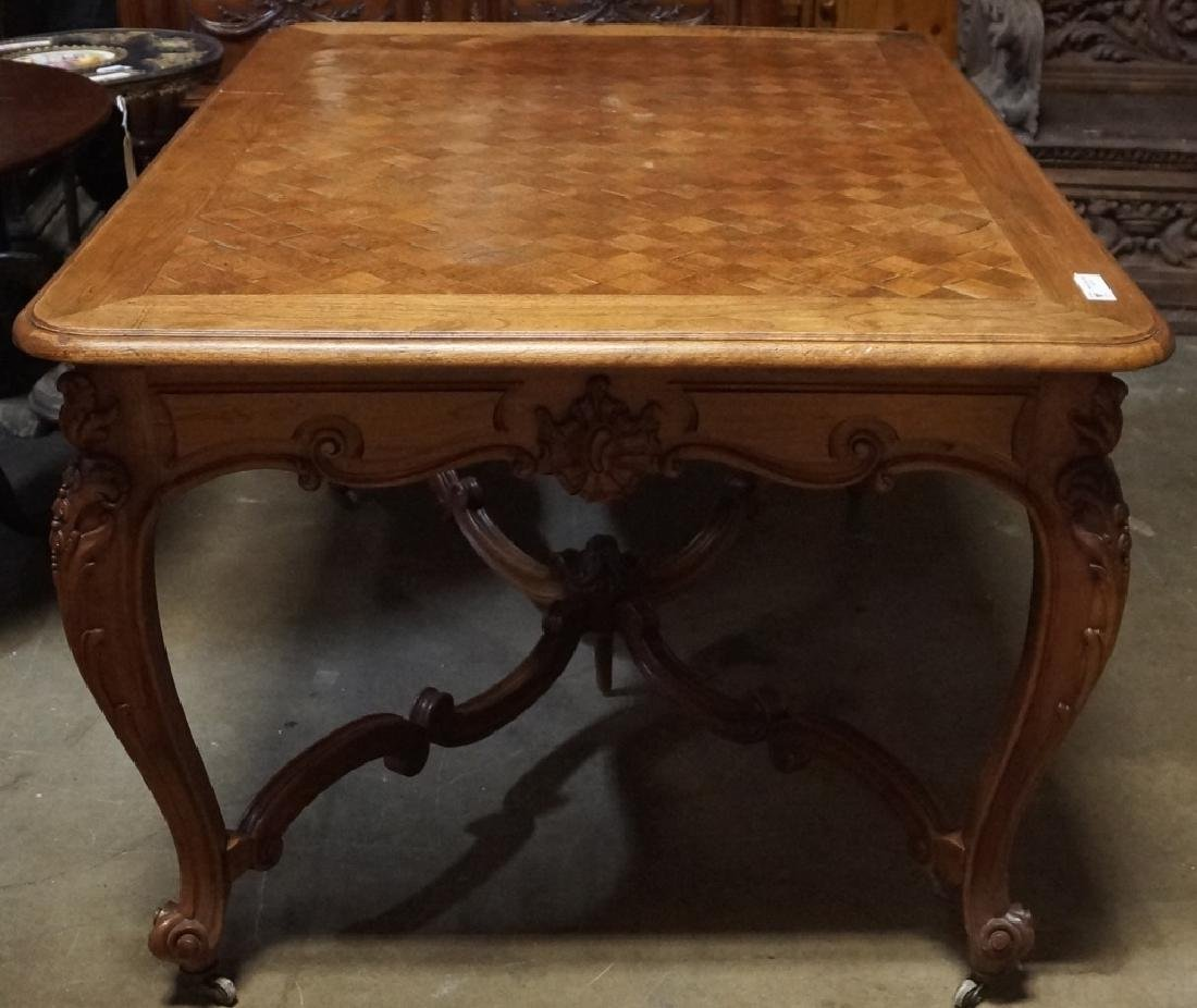 19th CENTURY FRENCH OAK TABLE WITH PARQUET TOP AND SIDE