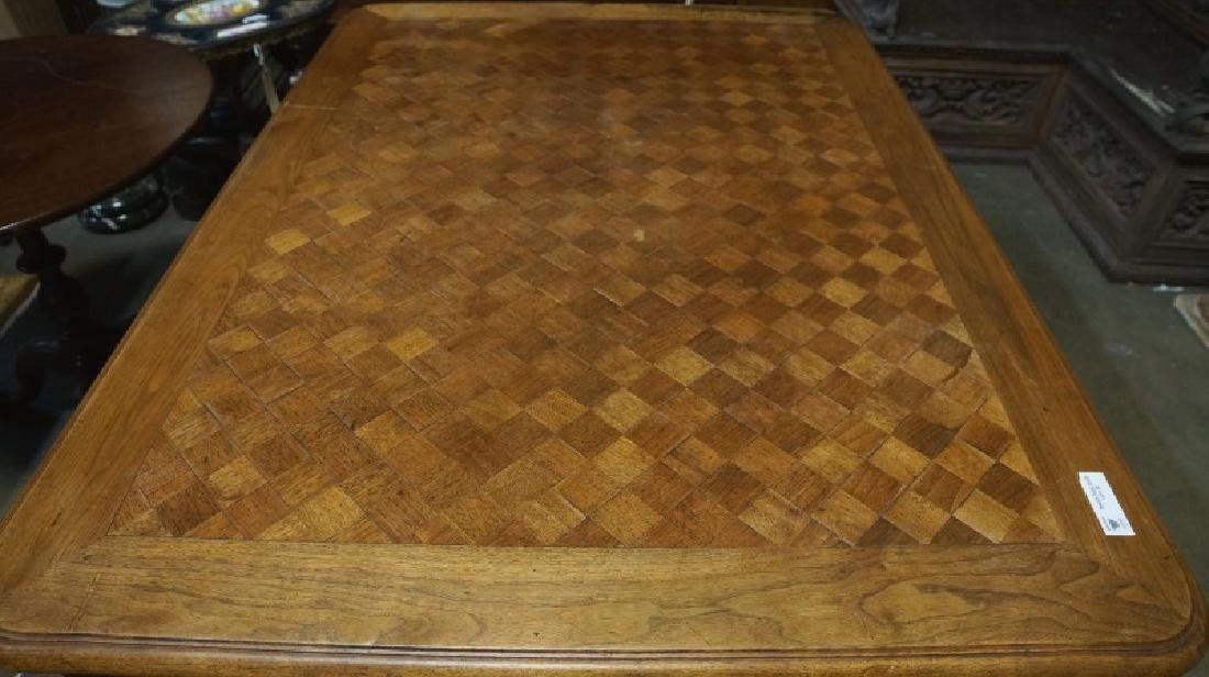 19th CENTURY FRENCH OAK TABLE WITH PARQUET TOP AND SIDE - 2