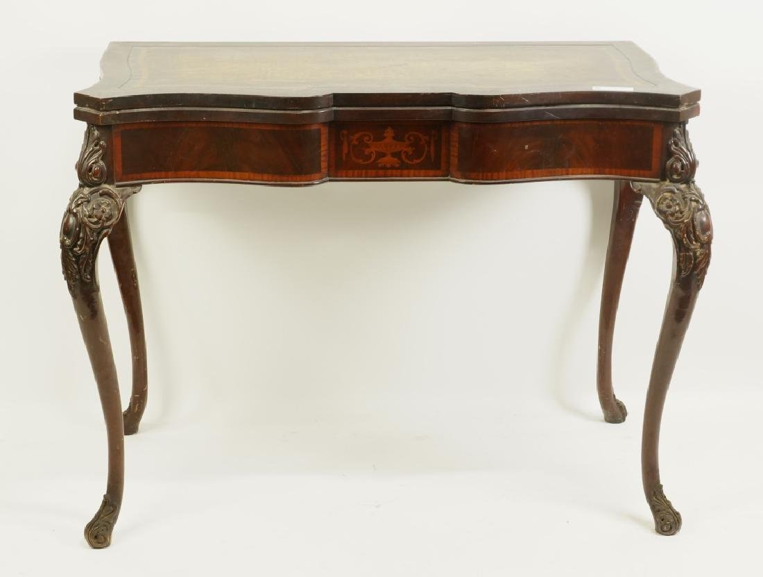 CARVED MAHOGANY TOOLED LEATHER TOP GAME TABLE