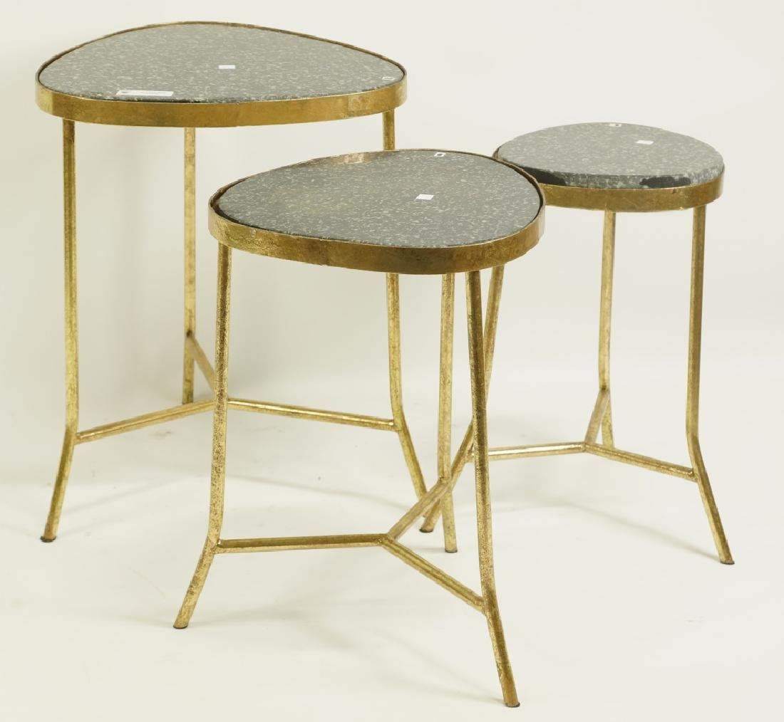 NEST OF THREE MARBLE TOP BRASS END TABLES