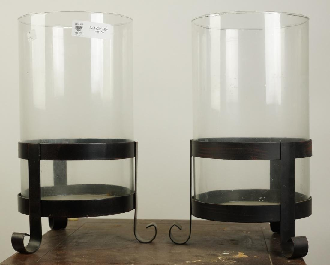 PAIR OF IRON & GLASS CANDLE HOLDERS