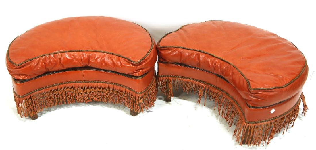 PAIR OF VINTAGE RED LEATHER OTTOMANS