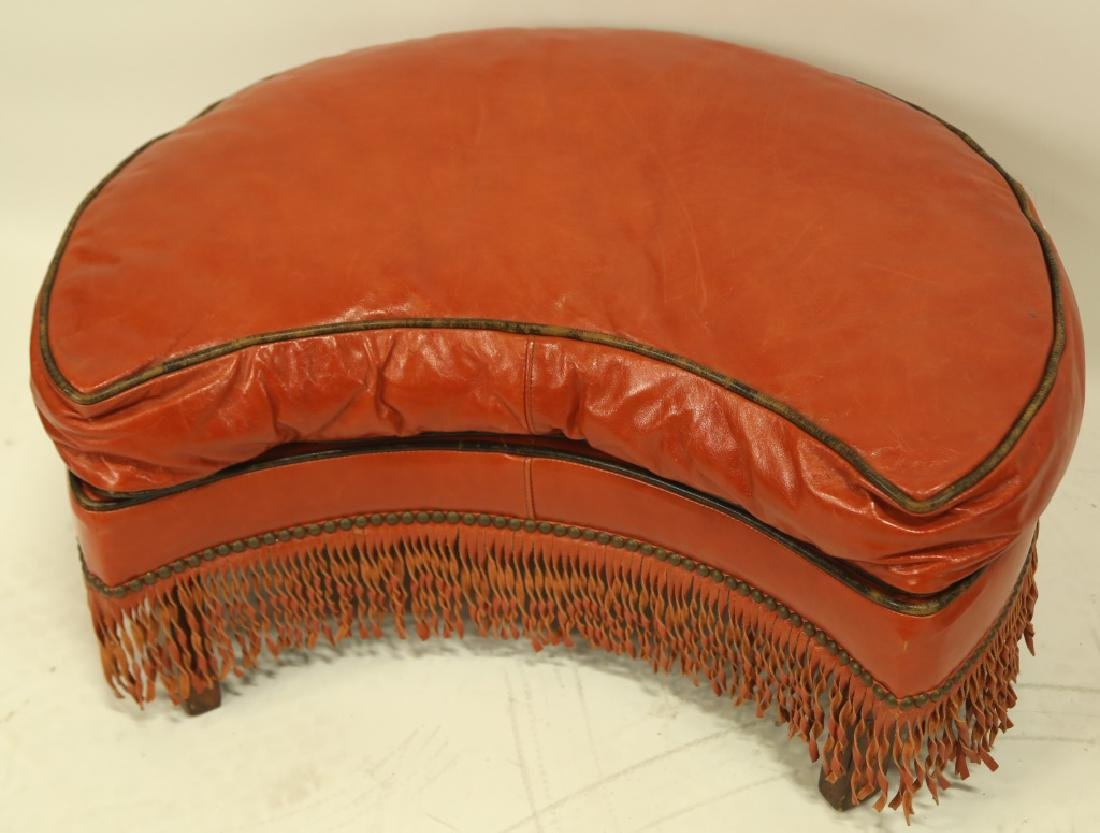 PAIR OF VINTAGE RED LEATHER OTTOMANS - 2