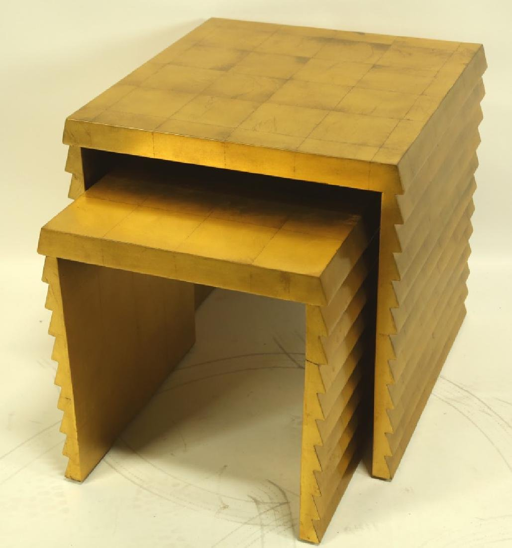 CONTEMPORARY GOLD LEAFED NEST OF TABLES