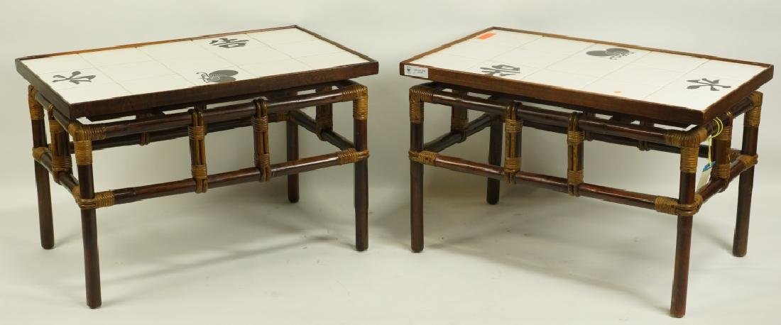 PAIR OF 1950's RETRO BAMBOO TABLES WITH TILE TOPS