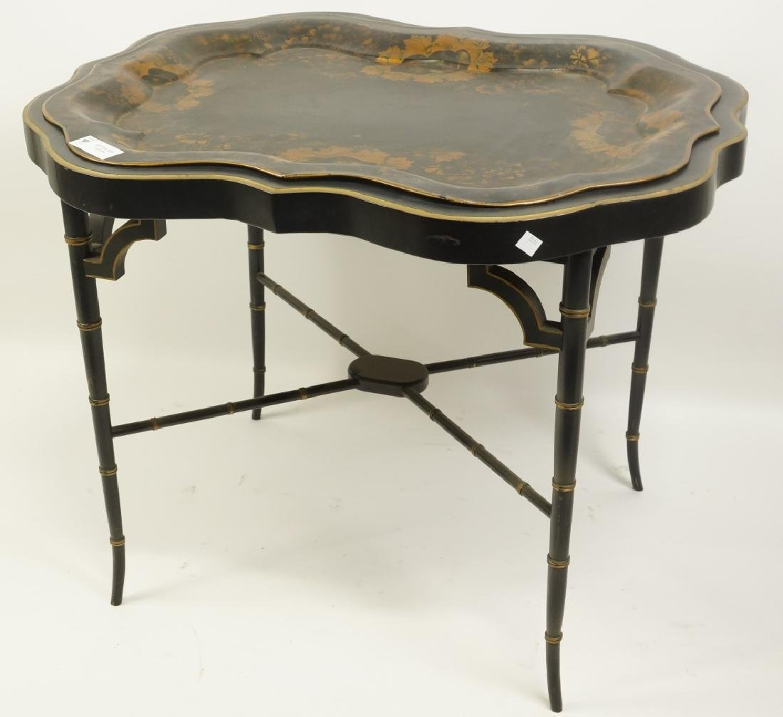 ANTIQUE PAINTED METAL TEA TABLE WITH FAUX BAMBOO