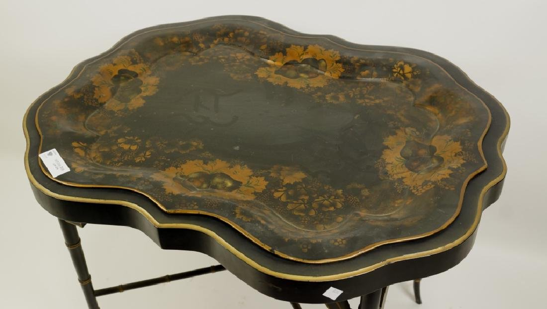 ANTIQUE PAINTED METAL TEA TABLE WITH FAUX BAMBOO - 2