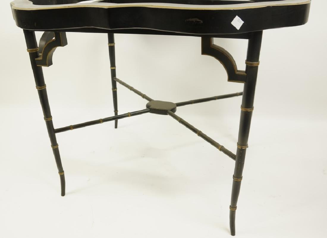 ANTIQUE PAINTED METAL TEA TABLE WITH FAUX BAMBOO - 4