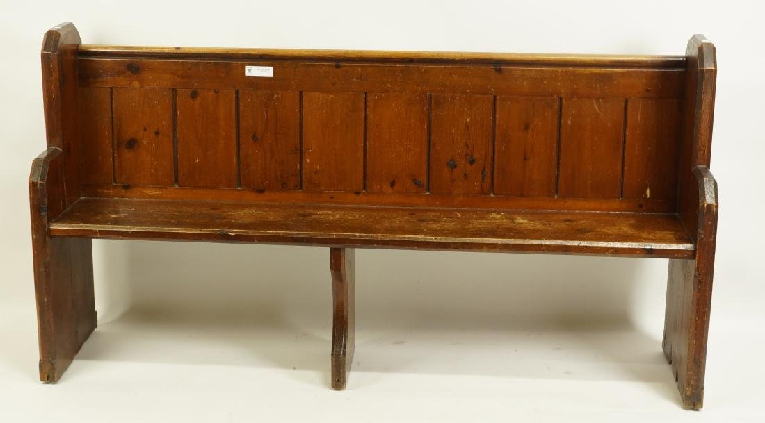 ANTIQUE PINE CHURCH PEW - 2