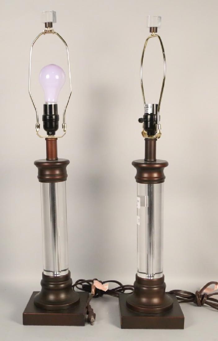 PAIR OF LUCITE LAMPS