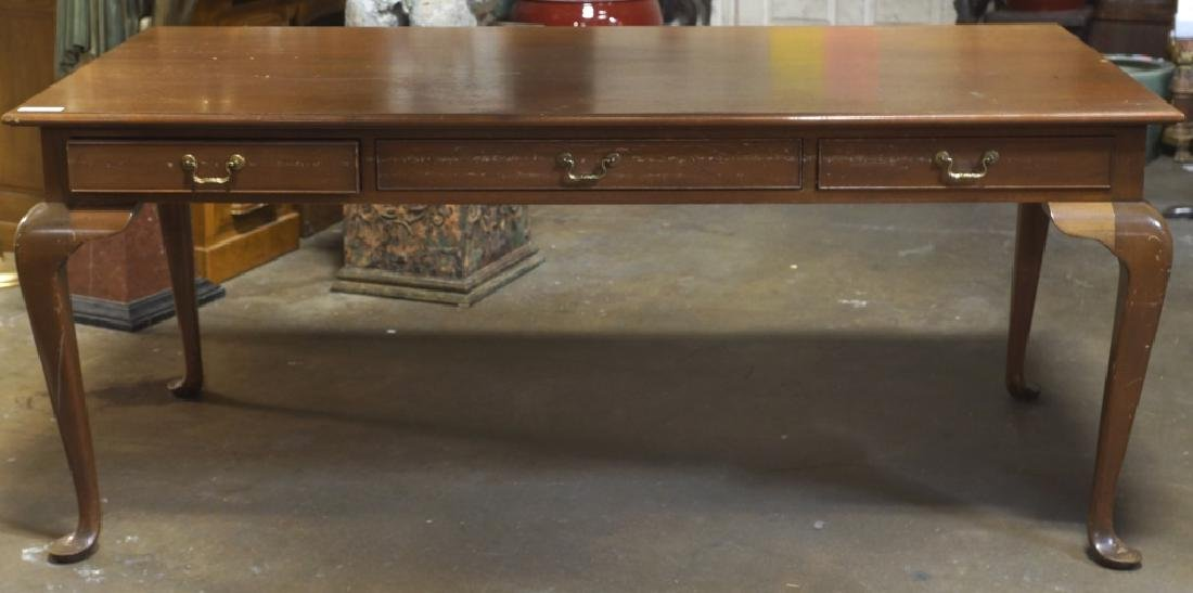 QUEEN ANNE STYLE MAHOGANY DESK WITH THREE DRAWERS