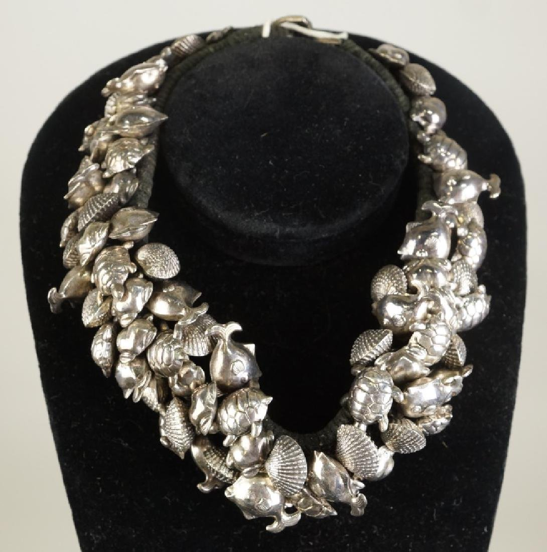 STERLING SILVER FISH, SHELLS & TURTLES NECKLACE
