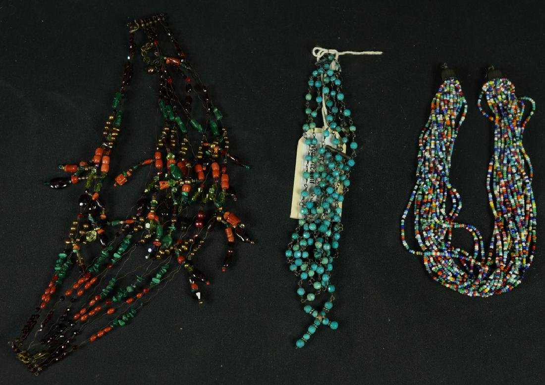 MIXED LOT OF THREE BEADED NECKLACES