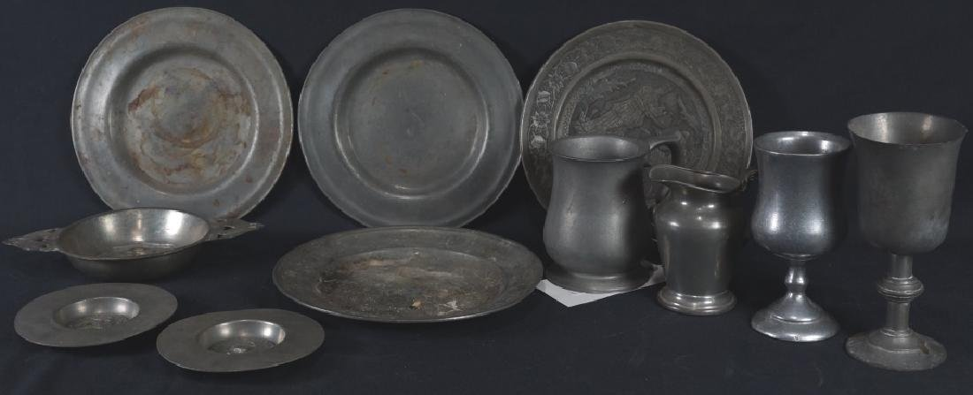 MIXED LOT OF 14-18th/19th CENTURY PEWTER PIECES
