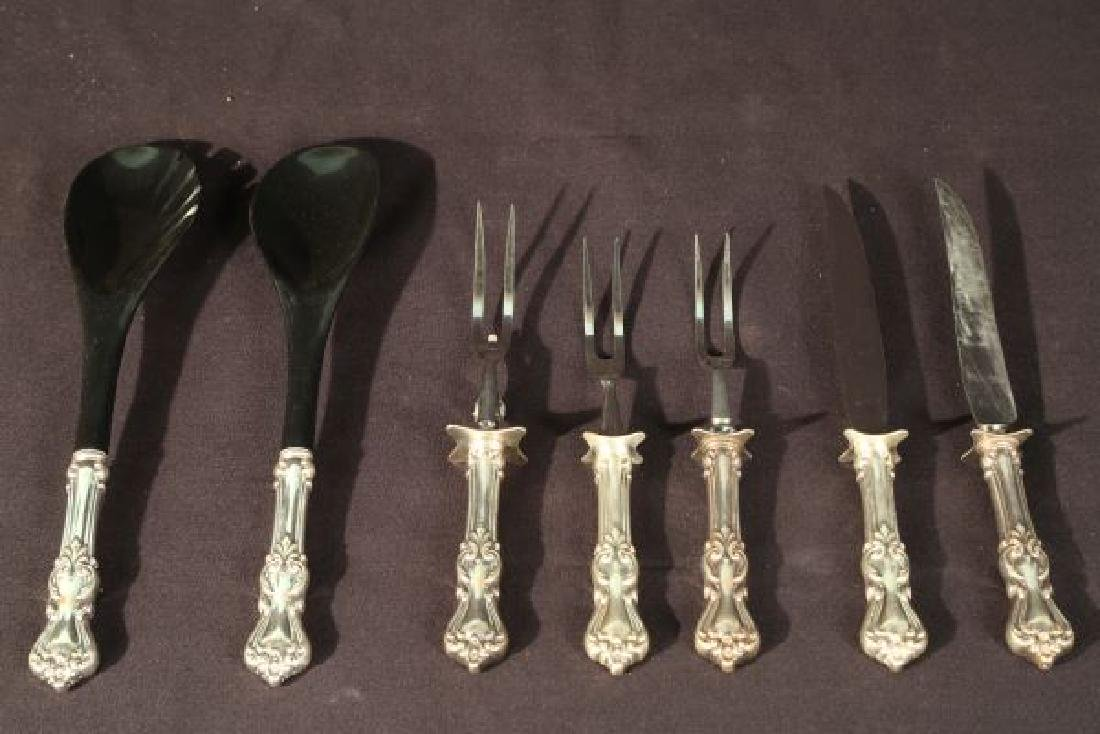 LOT OF SEVEN STERLING SILVER HANDLE CARVING PIECES